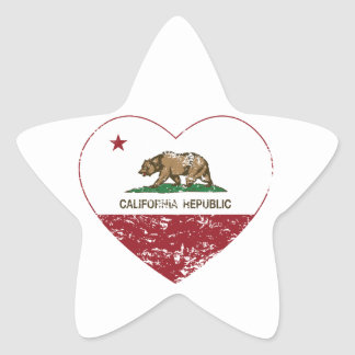 California Republic Love Heart Distressed Star Sticker