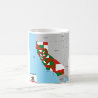 california republic map united states america flag basic white mug