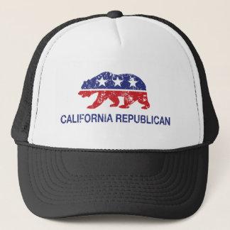California Republican Bear Distressed Trucker Hat