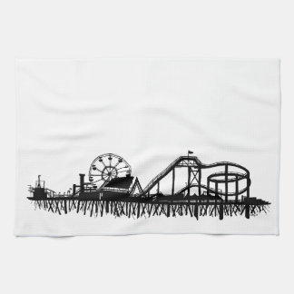 California Santa Monica CA Iconic Pier Silhouette Tea Towel