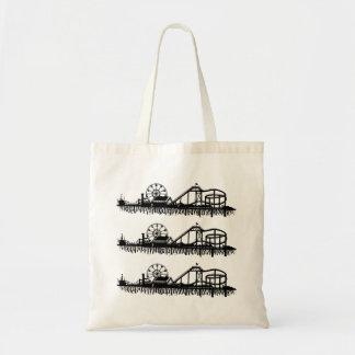 California Santa Monica CA Iconic Pier Silhouette Tote Bag
