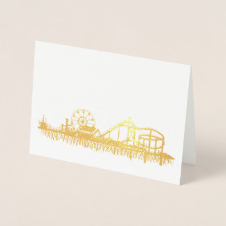 California Santa Monica CA Pier Beach Ferris Wheel Foil Card