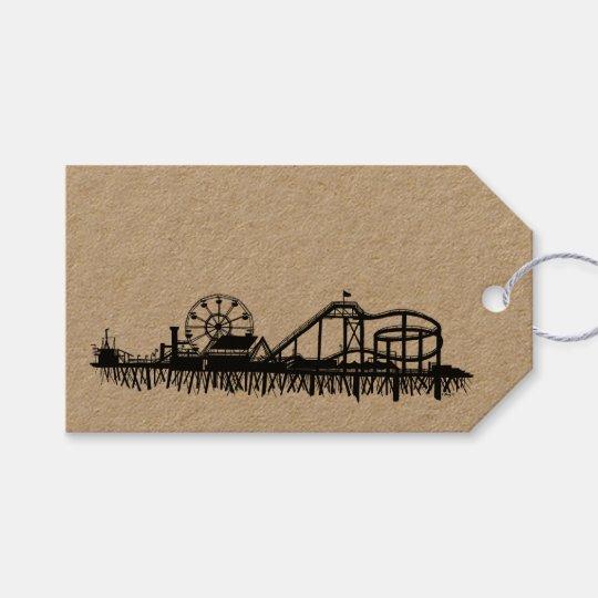 California Santa Monica CA Pier Beach Ferris Wheel Gift Tags
