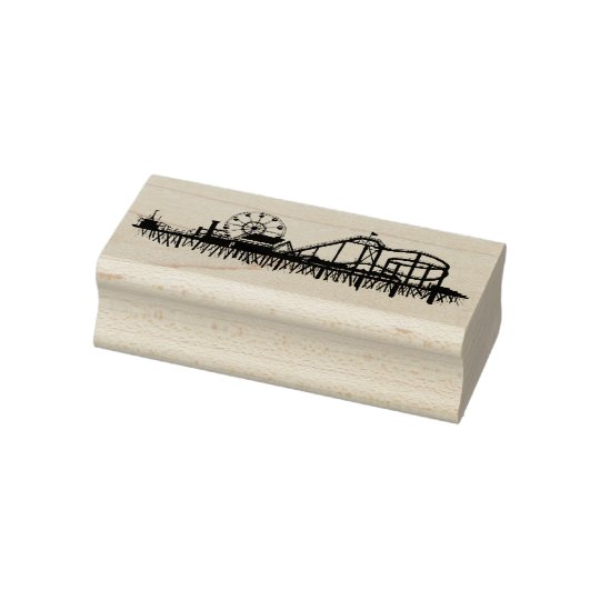 California Santa Monica CA Pier Beach Ferris Wheel Rubber Stamp