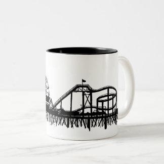 California Santa Monica CA Pier Beach Ferris Wheel Two-Tone Coffee Mug