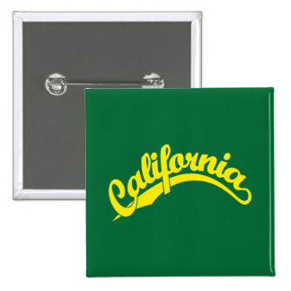 California Script logo in Yellow Pinback Buttons