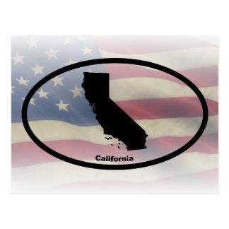 California Silhouette Oval Design Postcard