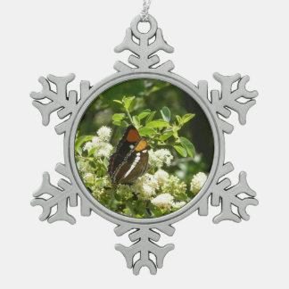 California Sister Butterfly in Yosemite Snowflake Pewter Christmas Ornament