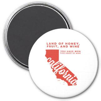 california | song lyrics | red orange 7.5 cm round magnet