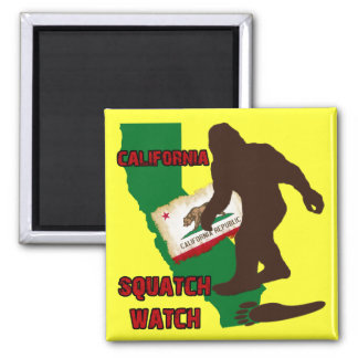 California Squatch Watch Square Magnet
