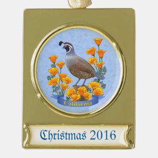 California State Bird Quail & Golden Poppy Gold Plated Banner Ornament