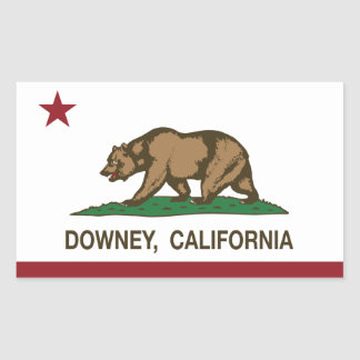 California State Flag Downey Rectangular Sticker