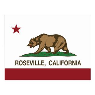 California State Flag Roseville Postcard