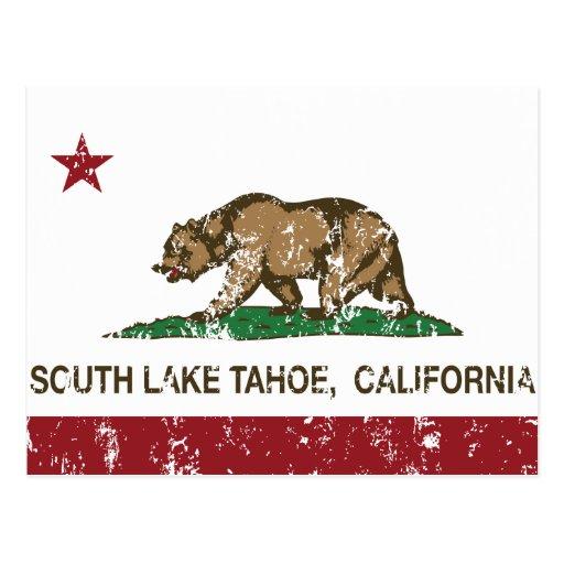 California State Flag South Lake Tahoe Postcard