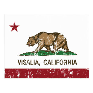 California State Flag Visalia Postcard