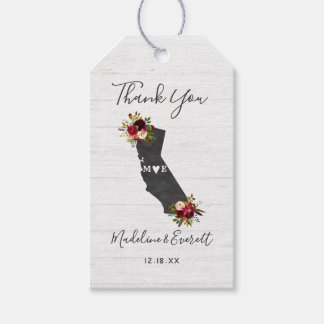 California State Floral Rustic Wedding Thank You Gift Tags
