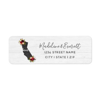 California State Floral Wedding Return Address Return Address Label