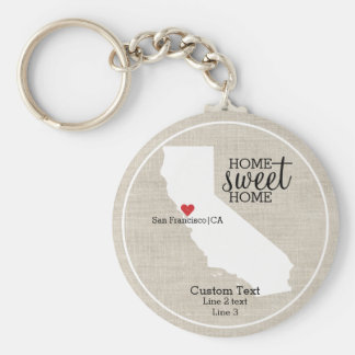 California State Love Home Sweet Home Custom Map Basic Round Button Key Ring