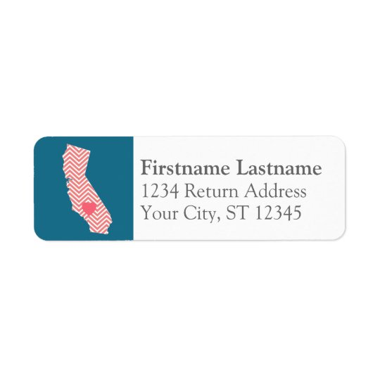 California State Map with Custom Heart and Name Return Address Label