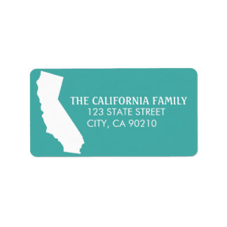 California State Return Address Labels - Turquoise