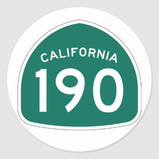 California State Route 190 Round Sticker