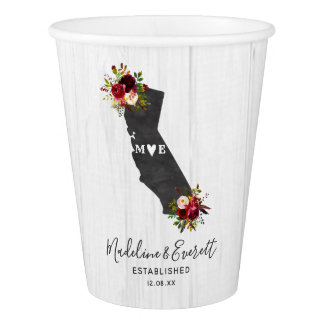 California State Rustic Floral Wedding Monogram Paper Cup