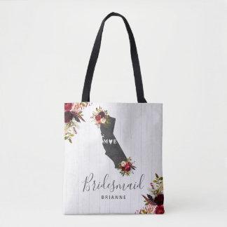 California State Rustic Floral Wedding Monogram Tote Bag