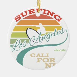 California surf illustration, t-shirt graphics ceramic ornament