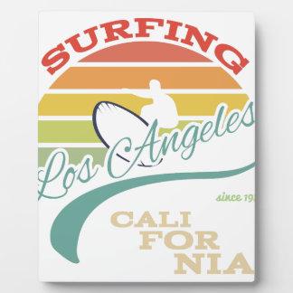California surf illustration, t-shirt graphics plaque