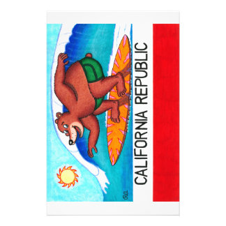 California Surfing Bear Flag Customized Stationery