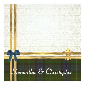 "California  tartan  & gold ribbon white  damask 5.25"" square invitation card"