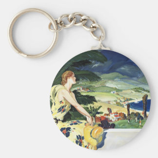 California This Summer Basic Round Button Key Ring