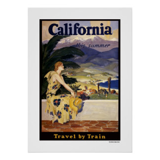 California this summer. Travel by Train Poster