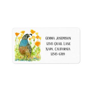 California Valley Quail Poppies Return Address Label