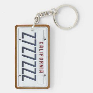 California White License Plate Keychain CUSTOM