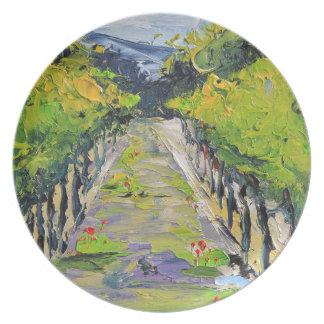 California winery, summer vineyard vines in Carmel Plate