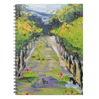 California winery, summer vineyard vines in Carmel Spiral Notebook