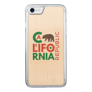 California With Grizzly Bear Logo Carved iPhone 7 Case