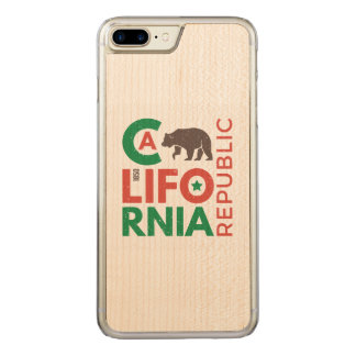 California With Grizzly Bear Logo Carved iPhone 7 Plus Case