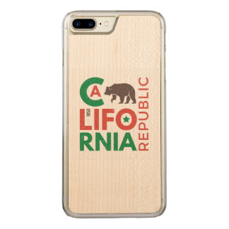 California With Grizzly Bear Logo Carved iPhone 8 Plus/7 Plus Case