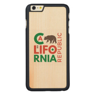 California With Grizzly Bear Logo Carved Maple iPhone 6 Plus Case