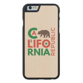 California With Grizzly Bear Logo Carved® Maple iPhone 6 Slim Case