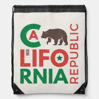 California With Grizzly Bear Logo Drawstring Bag