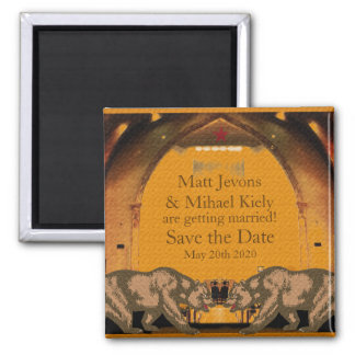 Californian Bear Grooms Gay Wedding Announcement Magnet