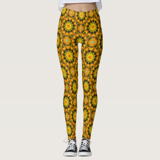 Californian Poppies, Nature Mandala 001 01.1 Leggings
