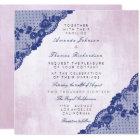 Californian Rose Pink Blue Navy Lace Wedding Card
