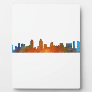 Californian San Diego City Skyline Watercolor v01 Plaque