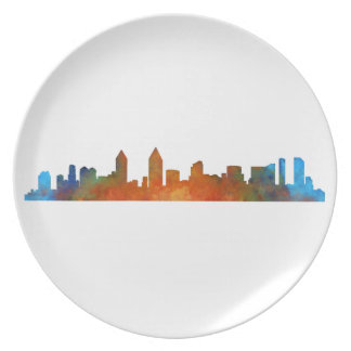 Californian San Diego City Skyline Watercolor v01 Plate