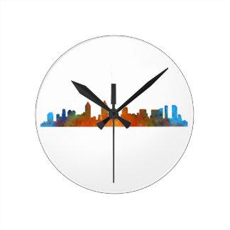 Californian San Diego City Skyline Watercolor v01 Round Clock
