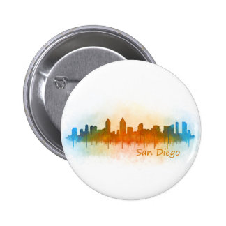 Californian San Diego City Skyline Watercolor v03 6 Cm Round Badge